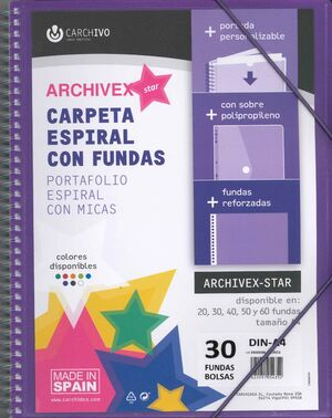 CARPETA 30 FUNDAS ESPIRAL CARCHIVO VIOLETA