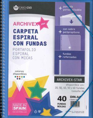 CARPETA 40 FUNDAS ESPIRAL CARCHIVO AZUL ARCHIVEX