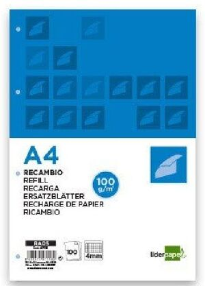 RECAMBIO CARTAPACIO 5MM A4 COLORES LIDERPAPEL