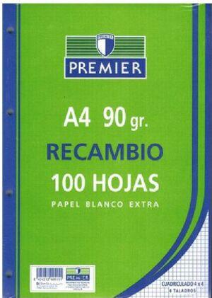 RECAMBIO CARTAPACIO 4MM 100H 90GR. PREMIER