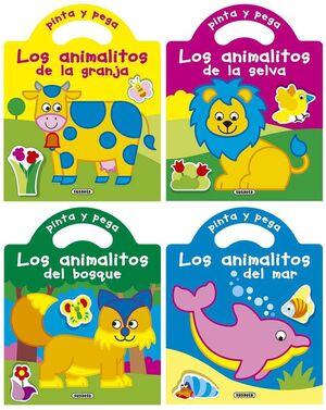 PINTA Y PEGA LOS ANIMALITOS (4 TÍTULOS)